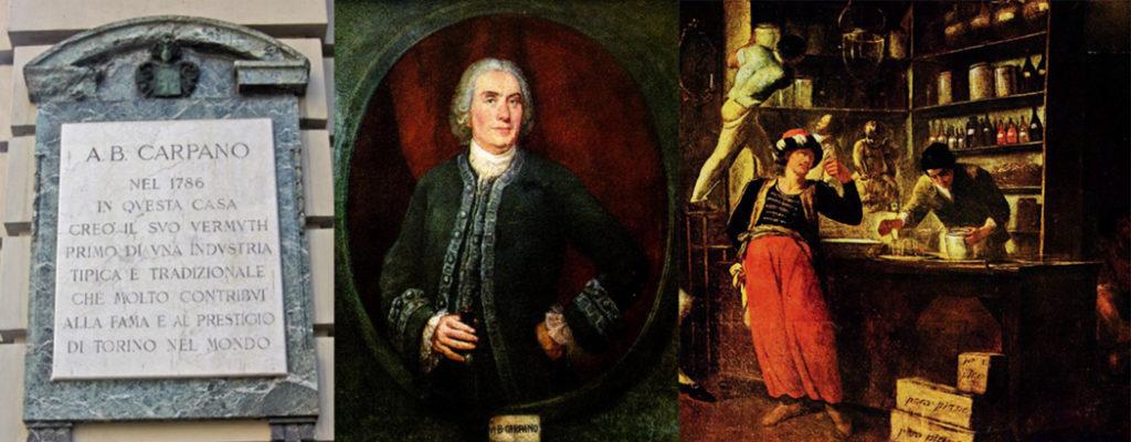 La lapide celebrativa, un ritratto di Carpano e una ricostruzione della sua bottega